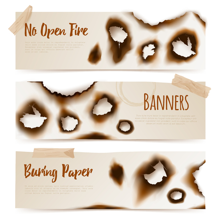 Set of horizontal paper banners with Burned edges and  burnt holes in realistic style vector  illustration