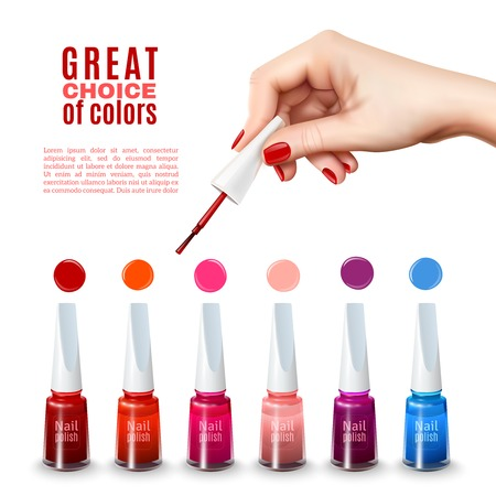 tints: Best choice of new tints nail polish colors with beautiful hand holding brush advertisement poster realistic vector illustration Illustration