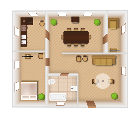 Flat rooms interior with furniture and equipment top view vector illustration