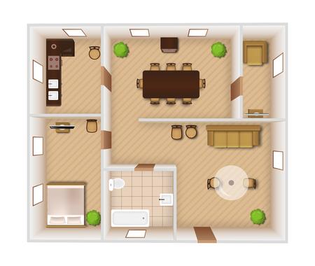Le camere piatte interne con mobili e attrezzature vista dall'alto illustrazione vettoriale Vettoriali