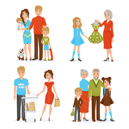 father daughter: Happy big family decorative collection with mother father daughter son newborn grandfather and grandmother flat icons vector illustration