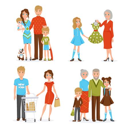 Gelukkig grote familie decoratieve collectie met moeder vader dochter zoon pasgeboren opa en oma vlakke pictogrammen vector illustratie