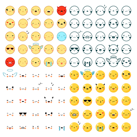 emoticons: Flat design big set of one hundred funny colorful and black emoticons in different styles isolated on white background vector illustration