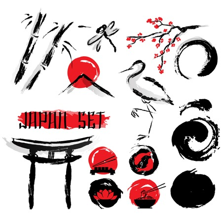 ink and wash: Japanese sumie ink wash black with red accent brush painting pictograms composition ancient abstract art vector illustration