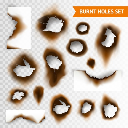 scorched: Set of scorched piece of paper and burnt holes on transparent background isolated vector illustration