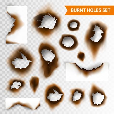 Set van verschroeide stuk papier en verbrande gaten op transparante achtergrond geïsoleerde vector illustratie