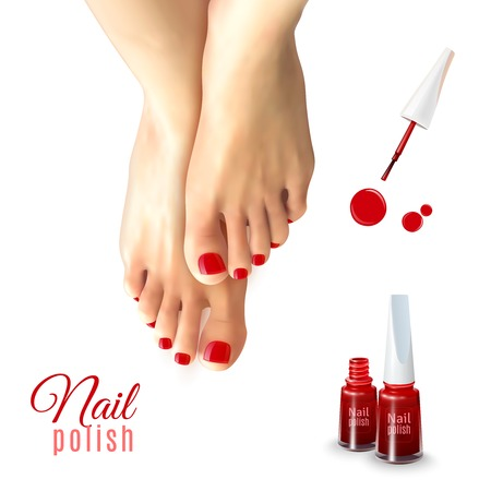 pedicure set: Pedicure red nail polish and female feet isolated on white background realistic vector illustration
