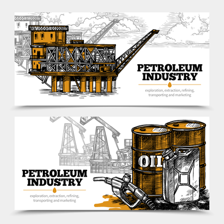 drill: Petroleum industry hand drawn horizontal banners with tanks and filling gun icons and oil derricks and arctic oil platform vector illustration
