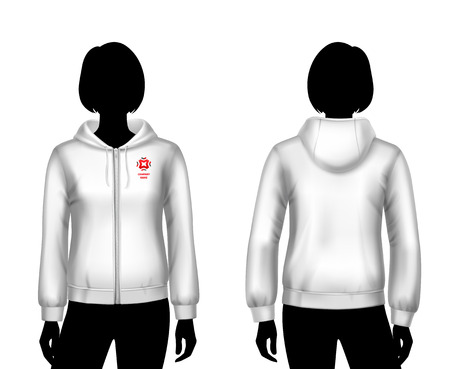 zipper hooded sweatshirt: Female hooded sweatshirt white template on woman body front and back silhouettes isolated vector illustration Illustration