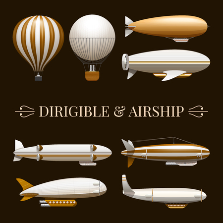 Set of icons with different types of balloons and airships vector illustration Ilustração