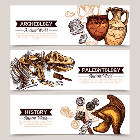paleontology: Archeology horizontal  banners with sketch colored images of ancient weapons crockery and animal skeleton and description archeology paleontology and history vector illustration