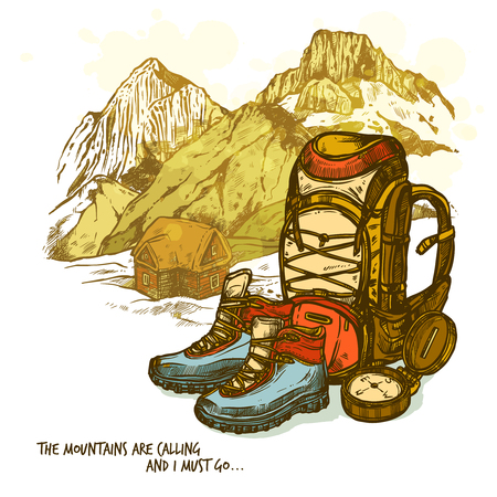 Trendy hand drawn hiking poster with boots compass and backpack on mountains landscape background vector illustration Çizim