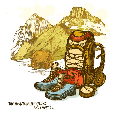 Trendy hand getekende wandelen poster met laarzen kompas en rugzak op bergen landschap achtergrond vector illustratie