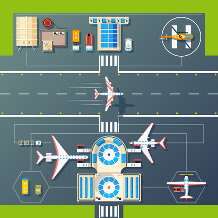 facilities: Aerial top view of airport runways landings strips buildings and facilities with planes and helicopter vector illustration
