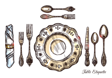 etiquette: Table etiquette hand drawn vector illustration with vintage cutlery isolated icons set serving for one person Illustration