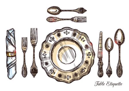 Table etiquette hand getekende vector illustratie met vintage bestek geïsoleerde pictogrammen set serveren voor één persoon Vector Illustratie