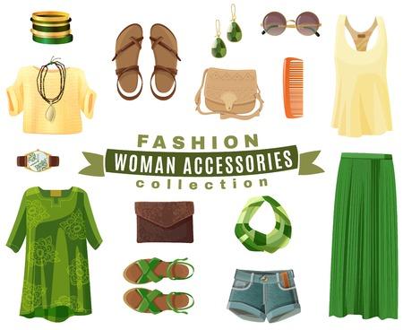 ropa de verano: Diseño plano de mujer accesorios de moda de verano los zapatos y la ropa recogida en colores brillantes frescos aislados en el fondo blanco ilustración vectorial