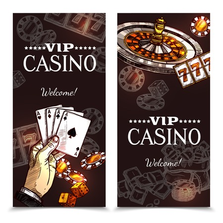 sale sticker: Vip casino color vertical banners with image of hand with playing cards roulette and chips in sketch style vector illustration Illustration