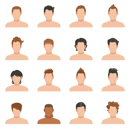 hairstyle: Set of color icons of hairstyle man without face vector illustartion