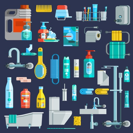 productos de aseo: higiene iconos de colores planos conjunto de artículos de aseo elementos del equipo de detergente en el fondo aislado Ilustración del vector de color azul oscuro