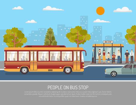 Ciudad de servicio público de transporte plano del cartel con la gente que espera en la parada de autobús refugio resumen ilustración vectorial
