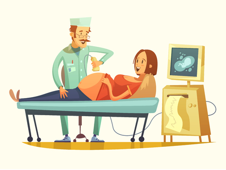 late: Late pregnancy ultrasound screening for birth weight prediction and fetal hart rate monitoring retro cartoon vector illustration