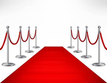 Red carpet event en zilveren barrières op witte achtergrond realistische vector illustratie
