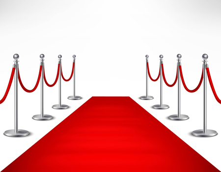 red carpet background: Red event carpet and silvery barriers on white background realistic vector illustration