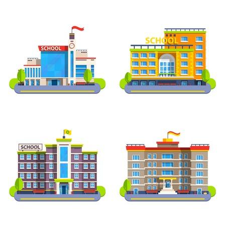 첨탑과 시계에 플래그가있는 현대적이 고 고전적인 학교 건물 평면 건설 벡터 일러스트 레이 션에 대 한 격리 된 요소