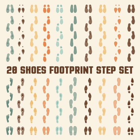 fashion collection: Various fashion style and sizes footwear soles types 20 flat colorful tracks collection banner abstract vector illustration
