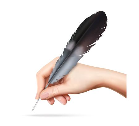 Big feather for writing in hand on white background realistic vector illustration