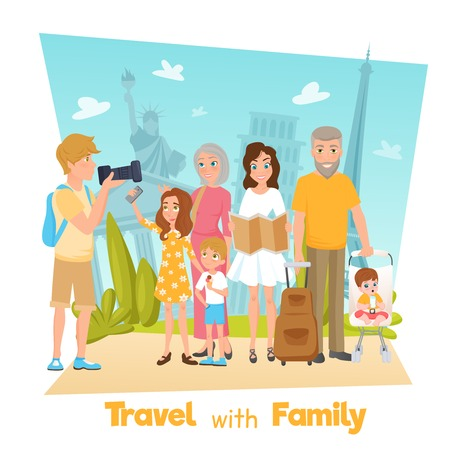 overseas: Happy family with children travelling and taking photos with famous sights cartoon vector illustration