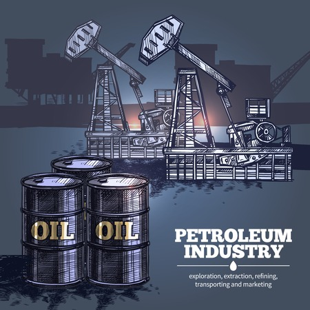 platforms: Oil industry hand drawn composition with barrels of petroleum in foreground and silhouettes of oil platforms in background vector illustration Illustration