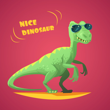 dinosaurus: Nice funny green dinosaurus in sunglasses cartoon character toy on red background poster print abstract vector illustration
