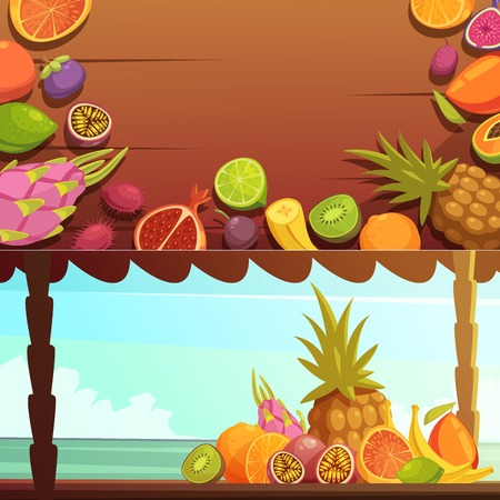 ocean view: Tropical island summer vacations 2 horizontal banners with delicious fruits with ocean background view cartoon vector illustration