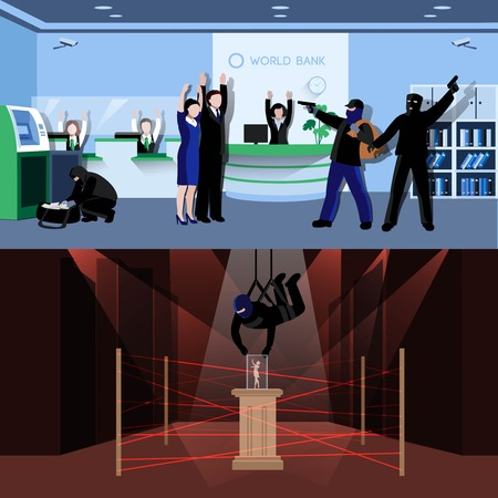 hostage: Armed burglars committing theft in bank and museum flat compositions isolated vector illustration Illustration