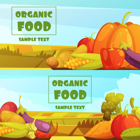Organic grown farmer vegetables two horizontal retro countryside harvest banners with text sample abstract isolated vector illustration