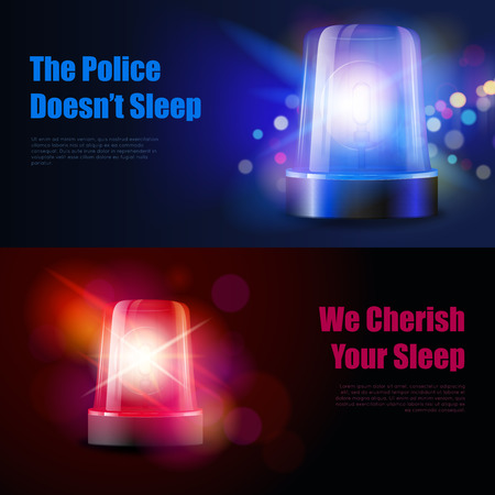 flasher: Police flasher siren with light effects banners isolated realistic vector illustration Illustration