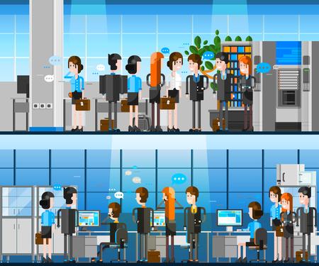 les gens de bureau de dessin animé de composition intérieure avec l'équipe de jeunes officiers positifs travaillant sur les ordinateurs et la communication avec les partenaires illustration vectorielle