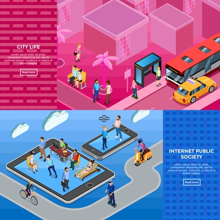 acquaintance: People isometric banners with members of internet public society and city life illustration on textural backgrounds isolated vector illustration Illustration