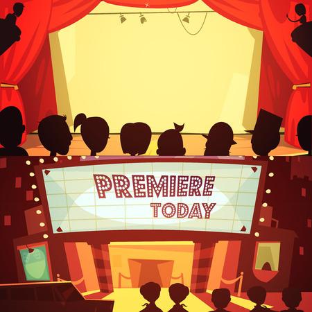 spectators: Theatre retro cartoon banner set with spectators silhouettes isolated vector illustration Illustration