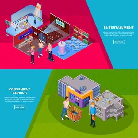 Shopping mall building with parking customers and such entertainment as cinema ice rink and cafe banners isolated isometric vector illustration Illustration