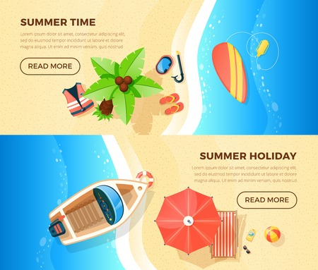 ocean view: Summer holiday tropical island ocean beach vacation information 2 top view banners webpage design isolated vector illustration Illustration