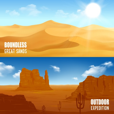 Horizontal beautiful desert landscape flat banners isolated vector illustration Illustration