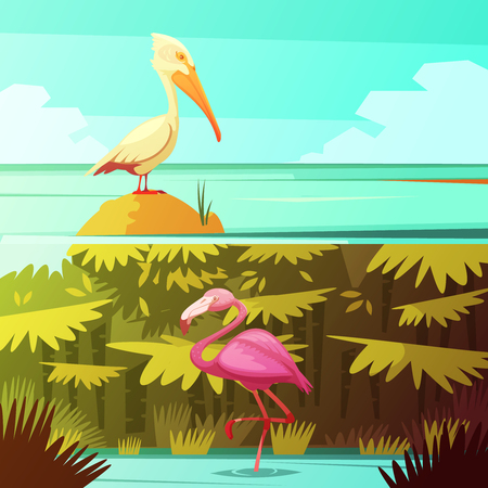 Tropical rainforest fauna 2 retro cartoon banners set with pink flamingo and pelican bird isolated vector illustration Illustration