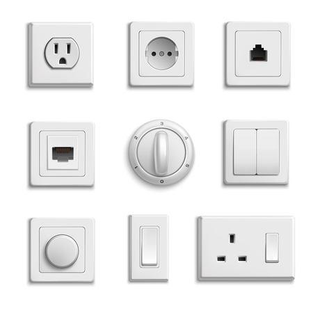 Carré interrupteurs blancs rectangulaires et ronds et prises ensemble réaliste sur fond blanc isolé Illustrations