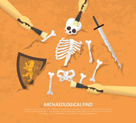 finds: Archaeological site discovery poster with new unearthed finds medieval knight remnants on sand background flat vector illustration Illustration