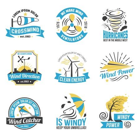 energy production: Wind energy production emblems set with windmills and natural sources of green power abstract isolated vector illustration