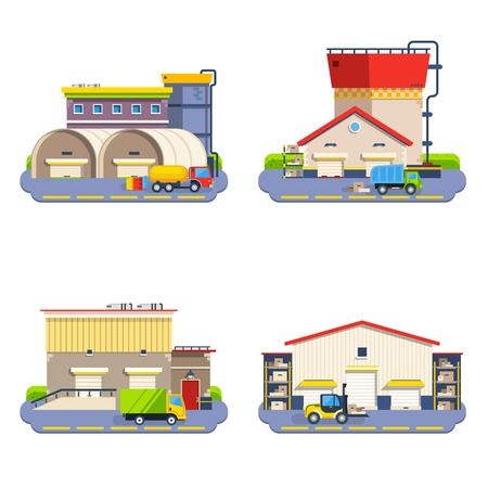 outdoor goods: Warehouse buildings of different size and shape with transport for goods delivery flat icons set on white background isolated vector illustration Illustration