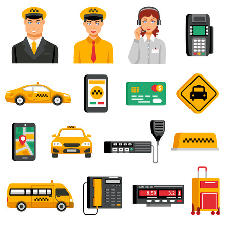 operation for: Taxi service icon set with equipment tools for operation of taxi and people workers in service vector illustration